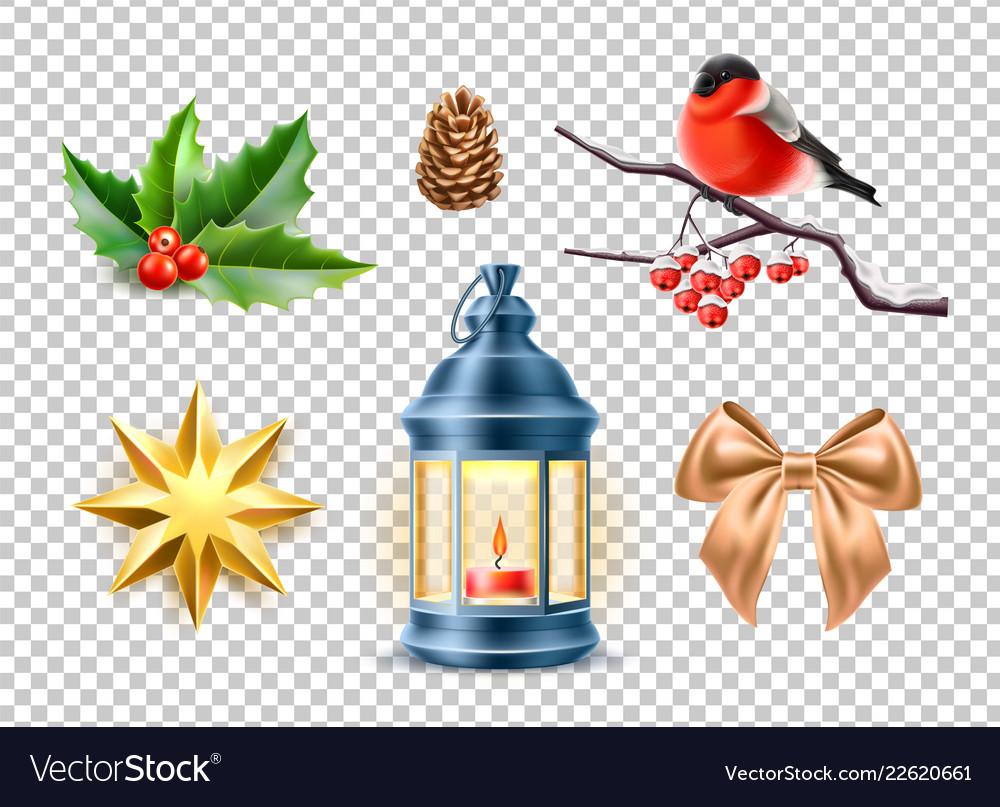 Merry christmas realistic symbols toys set