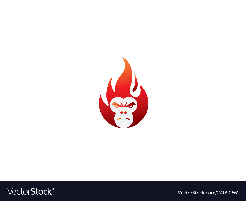 Monkey head with angry face in a ball of fire for