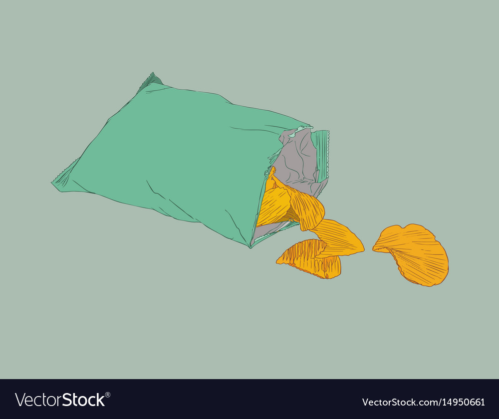 Potato chips packaging bag of chip sketch