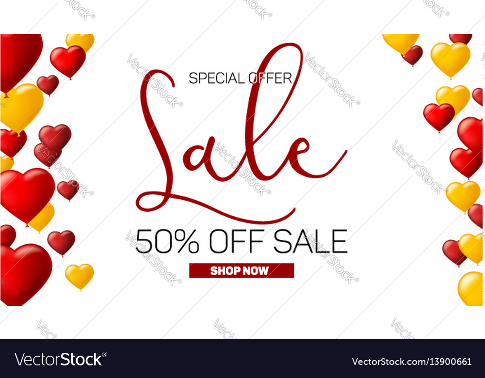Sale banner on white background with inflatable vector image