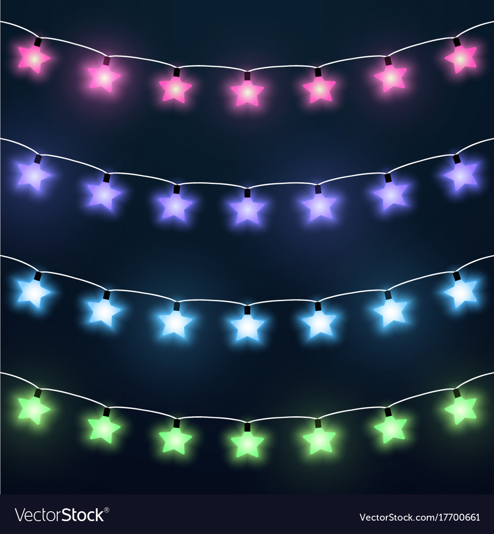 Set of colorful star garlands vector image