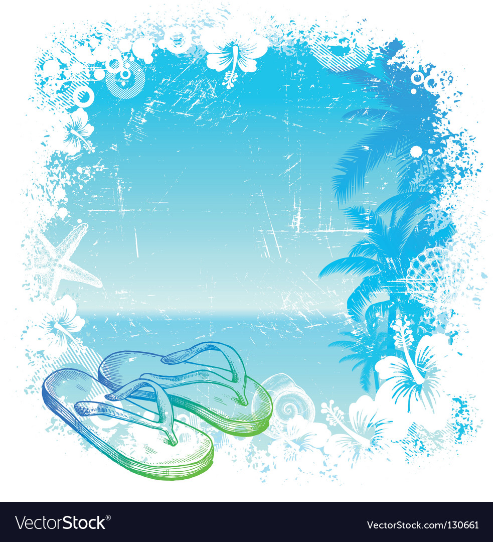 Tropical background with beach slippers