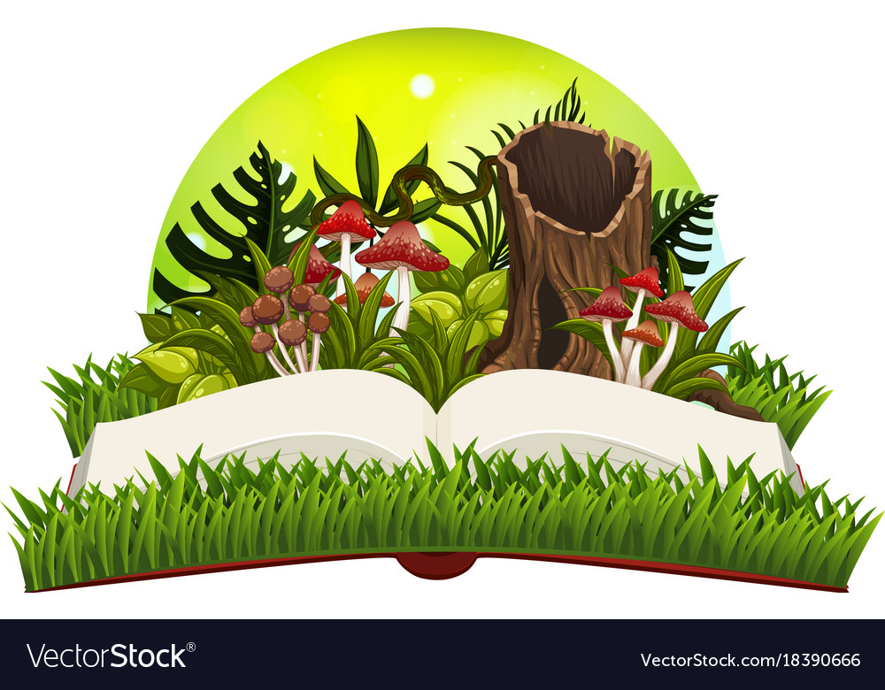 Book With Mushrooms In The Garden Royalty Free Vector Image