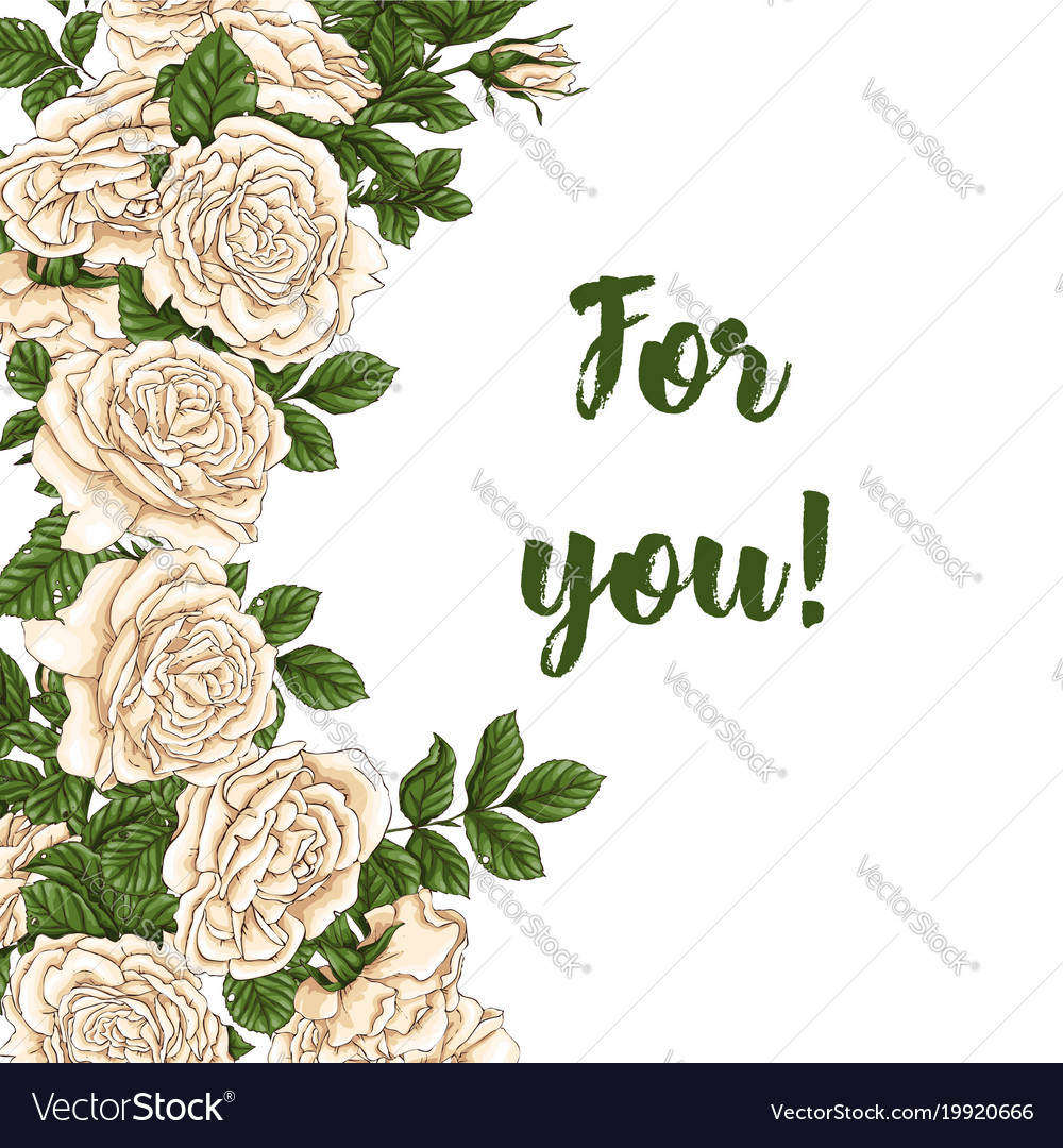 Card with garden white and red roses and