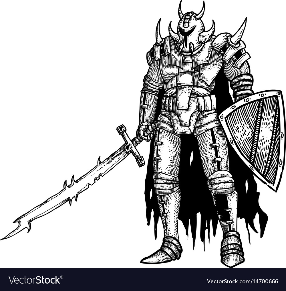 Cartoon image of warrior with sword