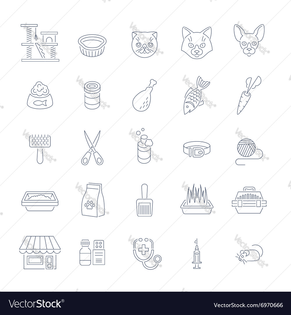 Cat care pet shop flat thin line icons vector image