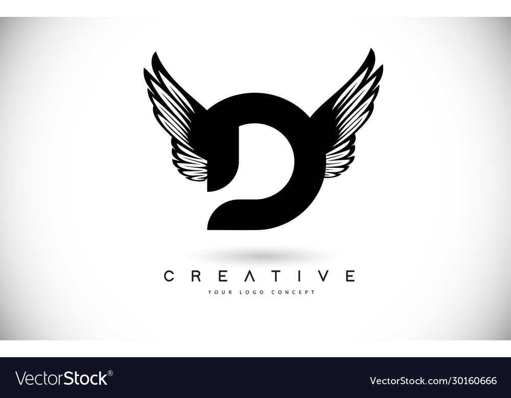 D letter logo with wings creative wing letter d