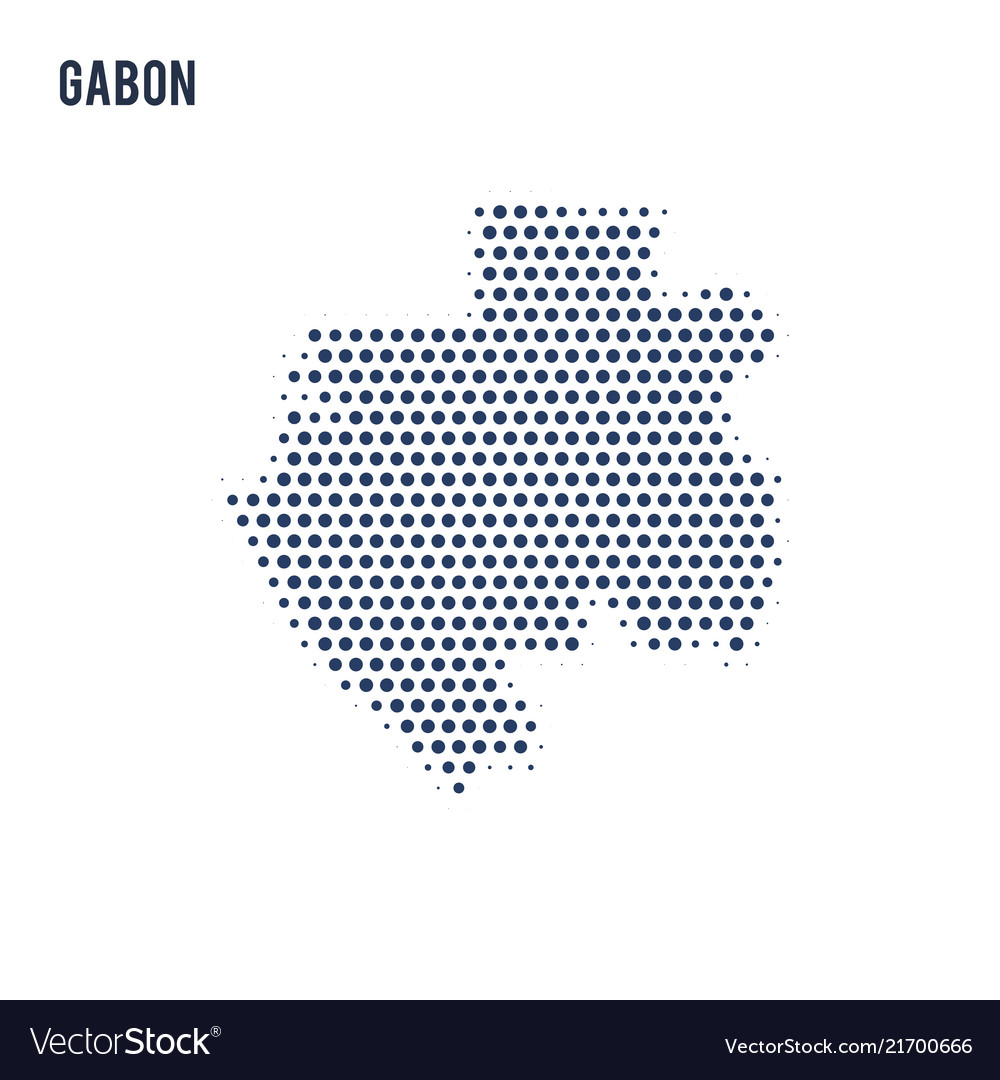 Dotted map of gabon isolated on white background