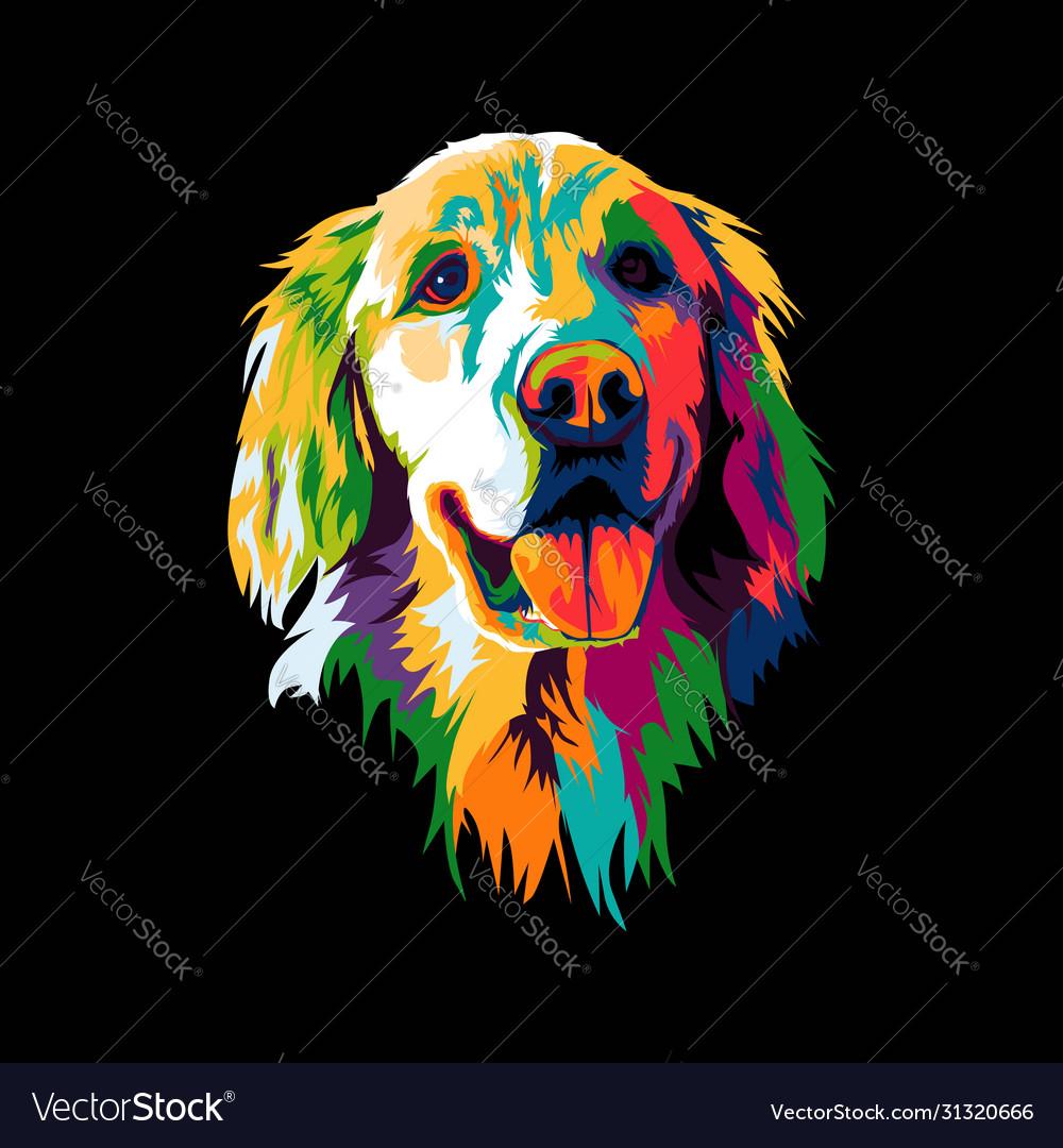 Golden retriever dog pop art