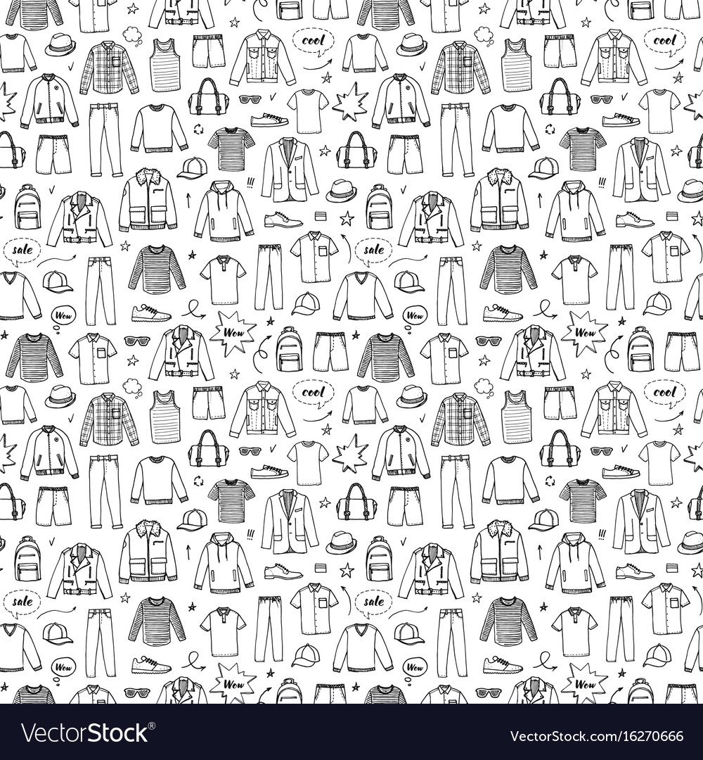 Hand drawn seamless pattern mens clothing
