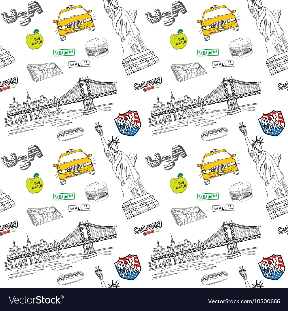 New York city seamless pattern with Hand drawn