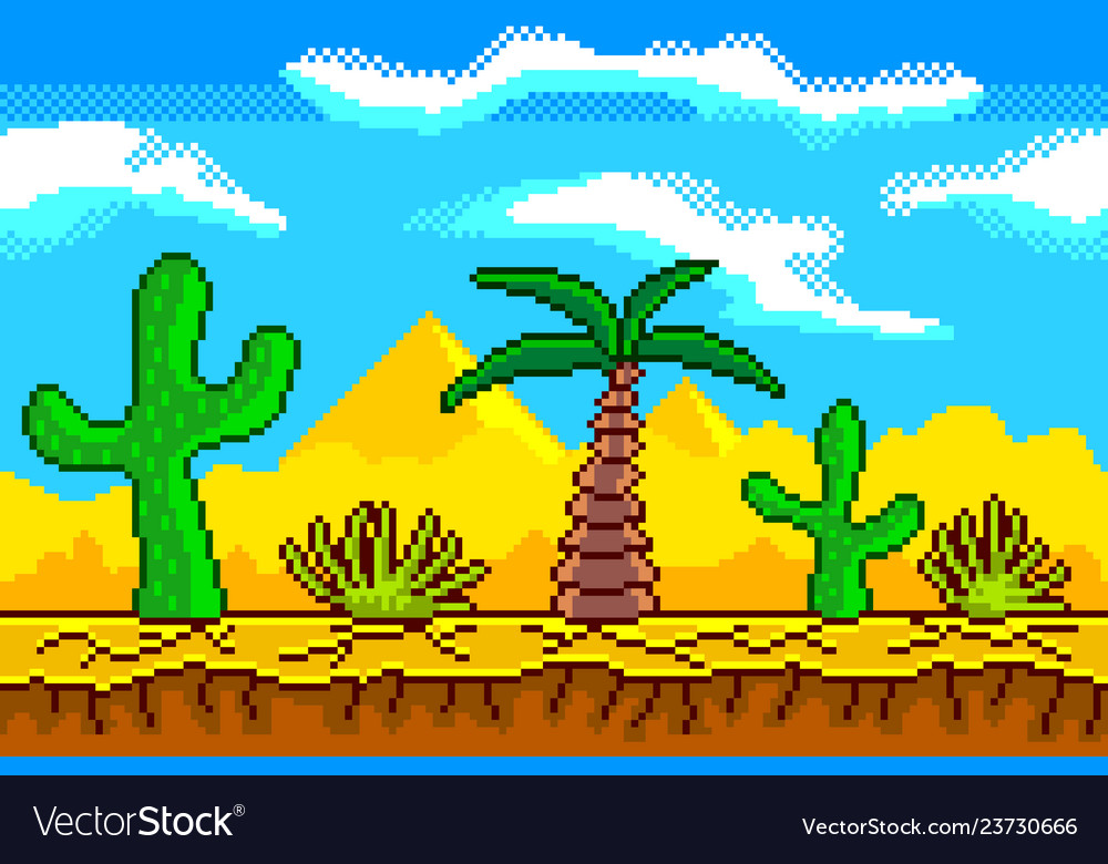 Pixel art desert seamless background detailed