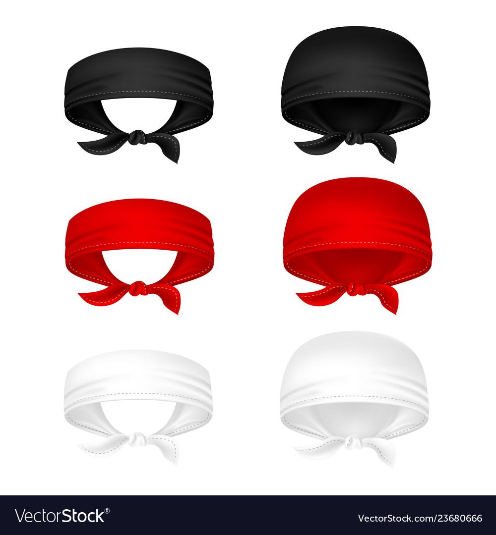 Red black and white head bandanas