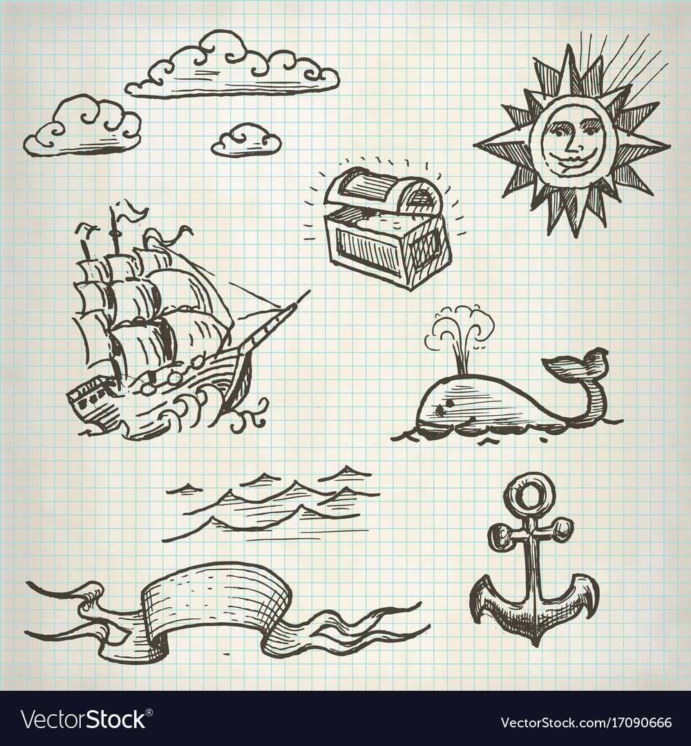 Sea doodle set