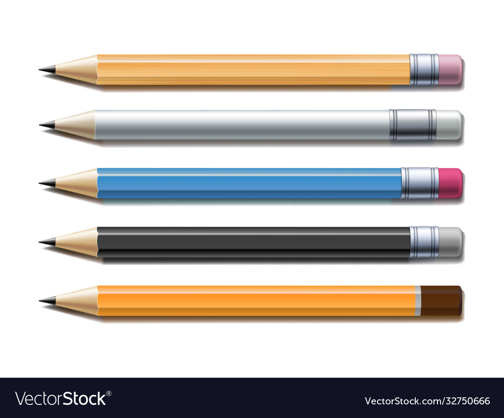 Set different lead pencils isolated on white