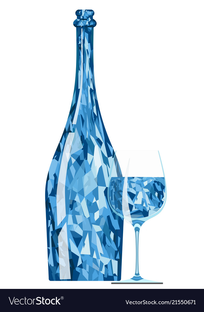 Abstract blue crystal bottle with a glass