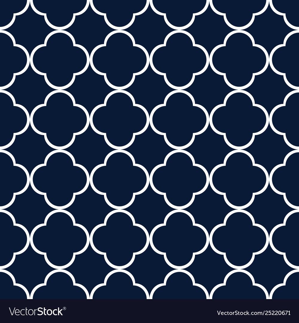 Blue quatrefoil outline ornamental pattern