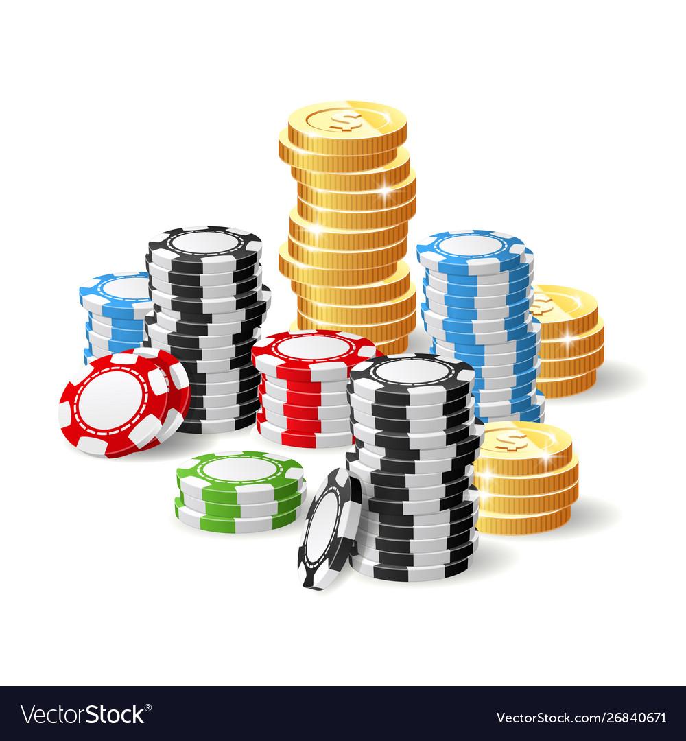 Casino and jackpot - gambling chips heap and