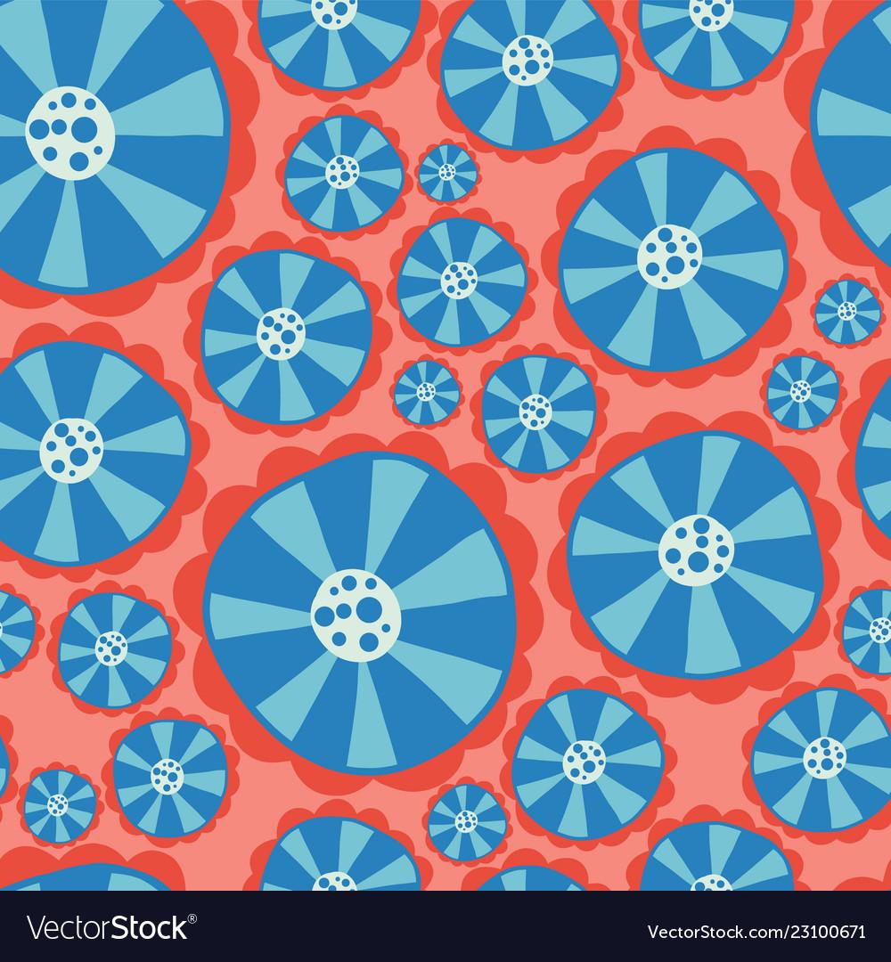 Hippie flower power seamless pattern red