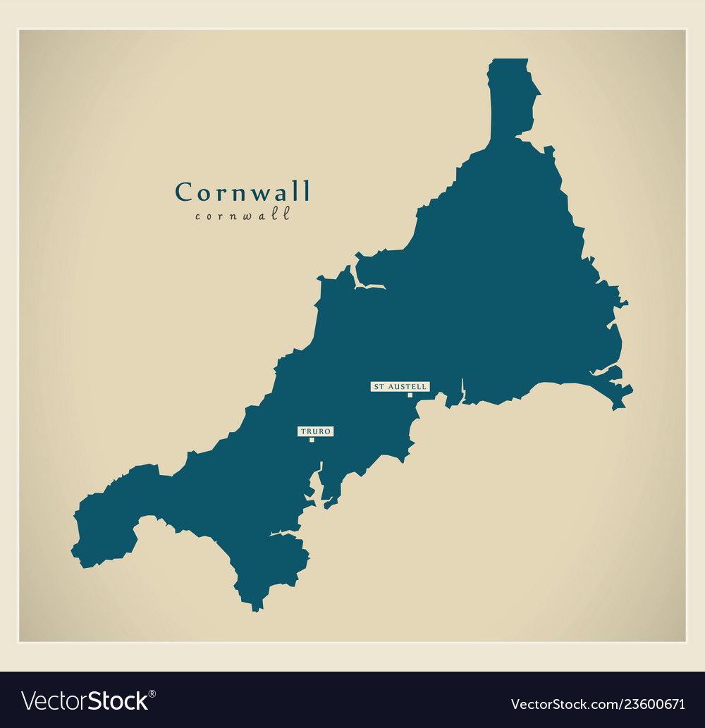 Map Of England Cornwall.Modern Map Cornwall Unitary Authority England Uk