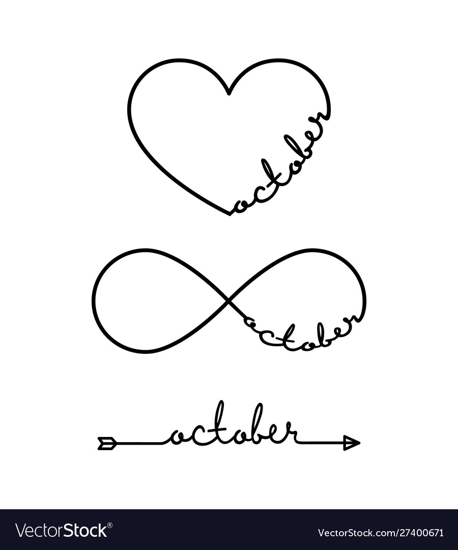 October - word with infinity symbol hand drawn