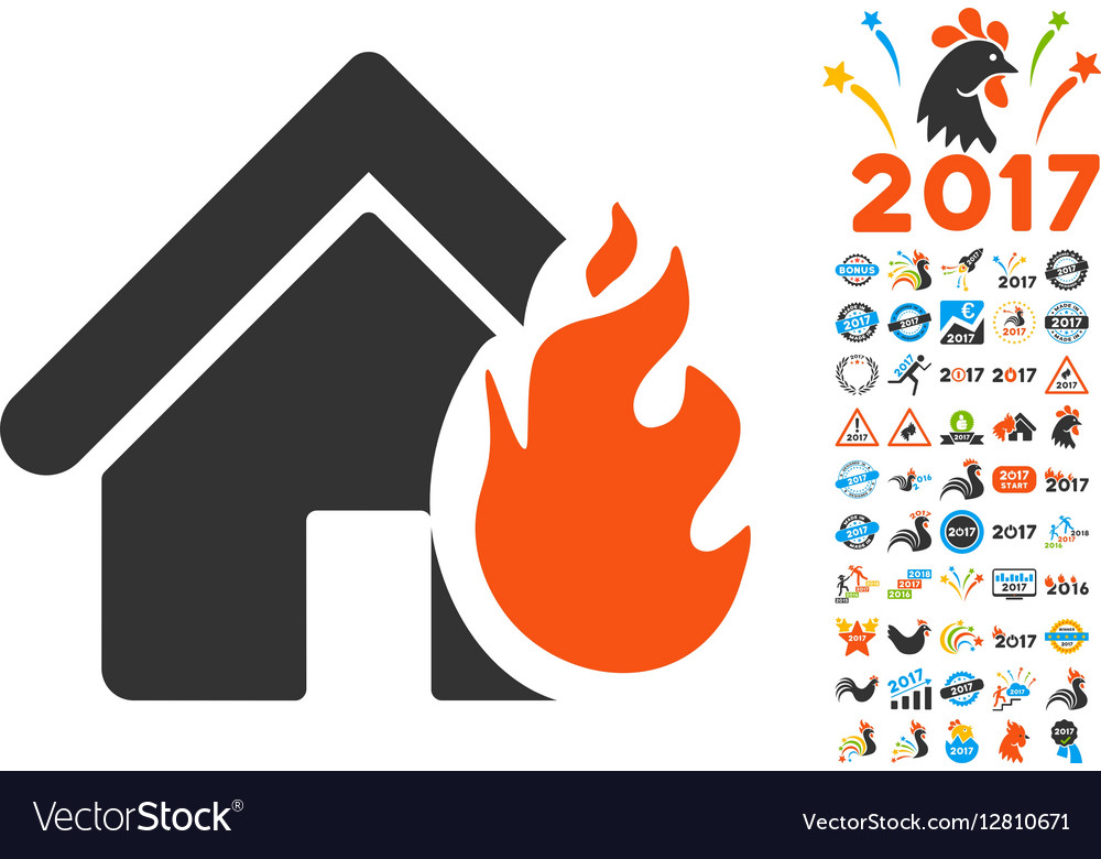 Realty Fire Damage Icon with 2017 Year Bonus vector image