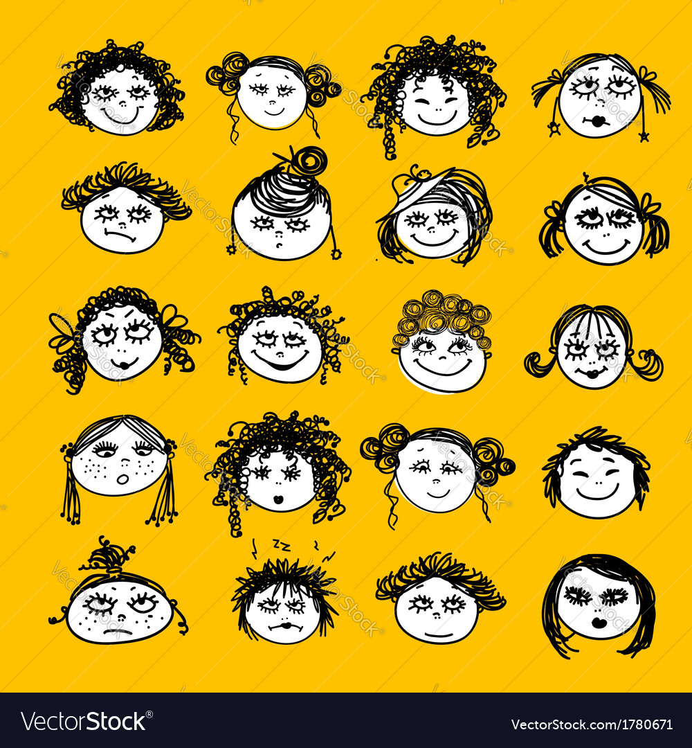 Set of female faces for your design vector image