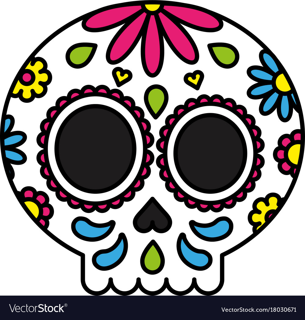 - Sugar Skull Colorful Floral Isolated Black Outline