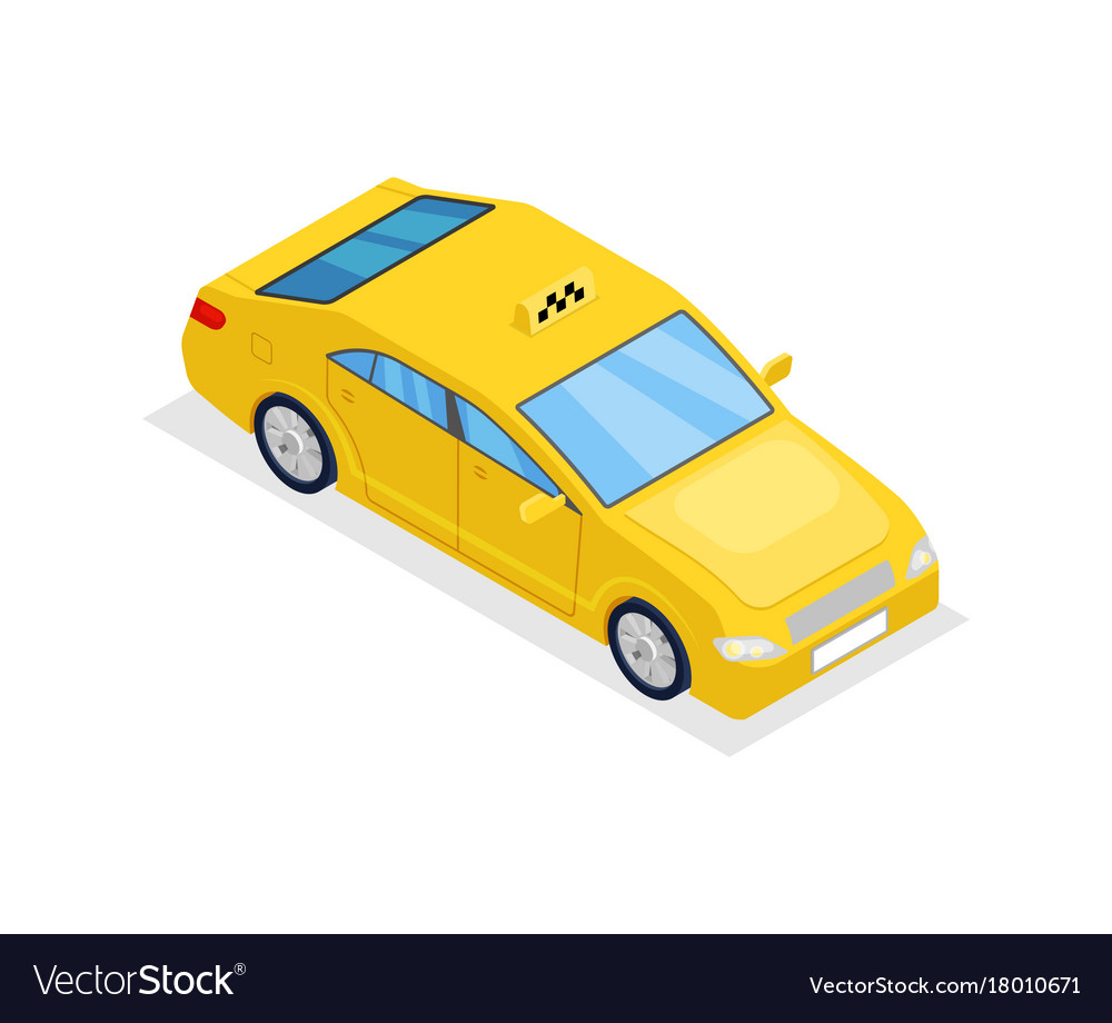 Yellow taxi car isolated isometric 3d icon