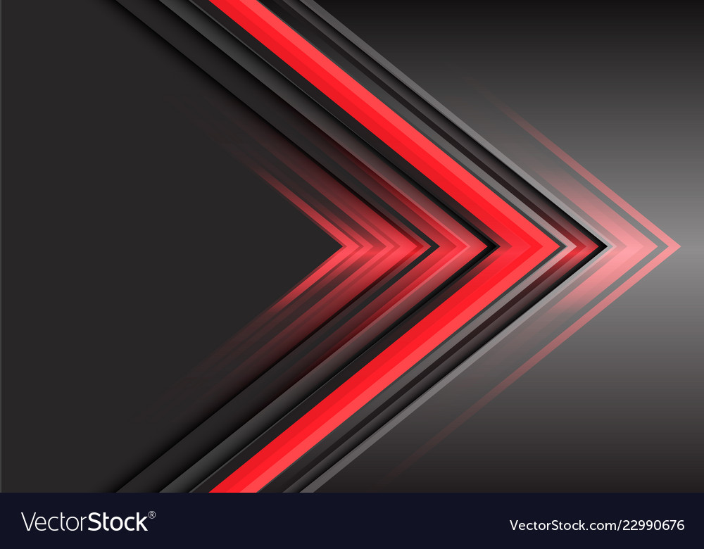Abstract red arrow light power direction on grey
