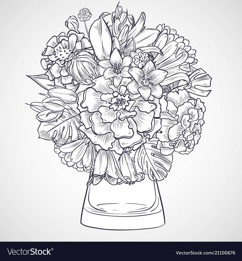 Bouquet of marygold and bluebells flowers vector image mightylinksfo