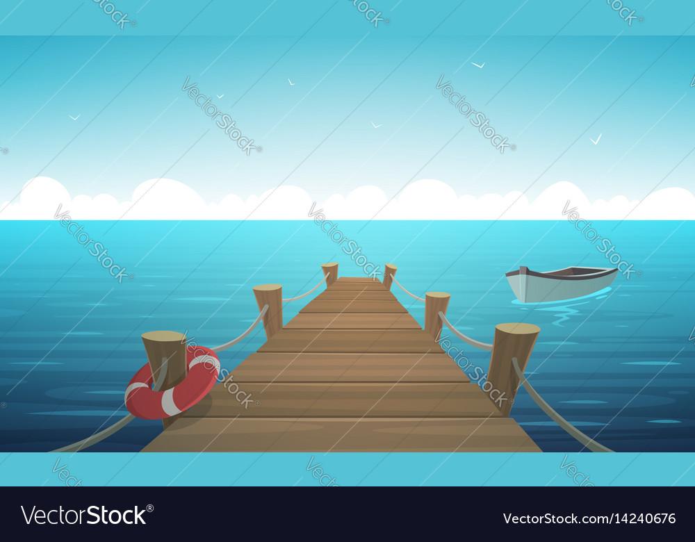 Cartoon pier Royalty Free Vector Image - VectorStock