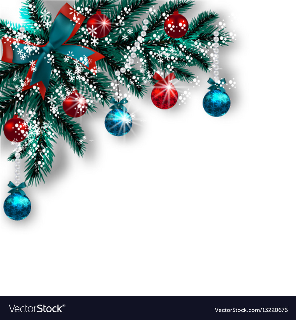 Christmas Card Blue With Green Tree Branches Red Vector Image