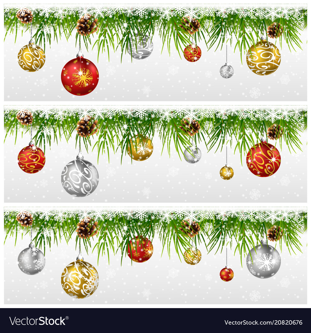 Christmas with fir garland isolated on white