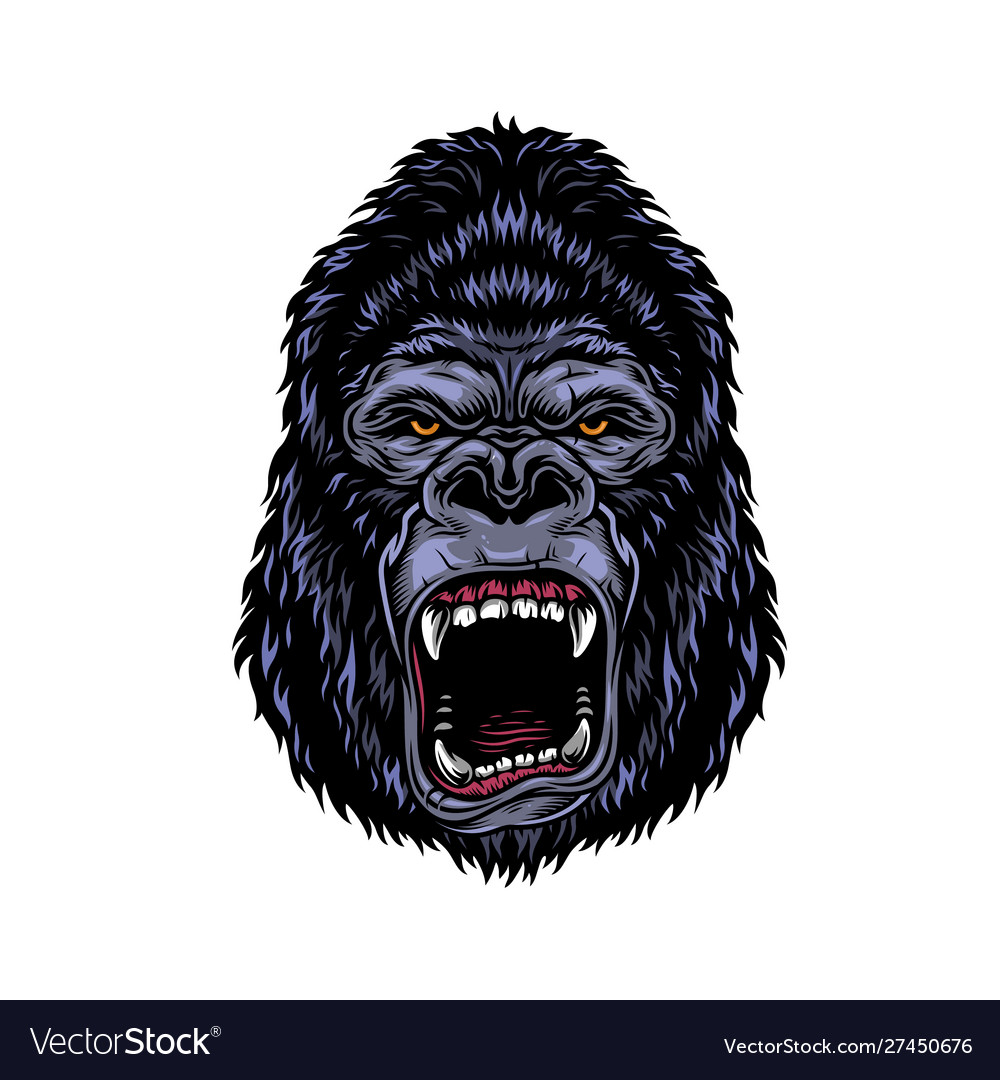 Colorful dangerous angry gorilla head