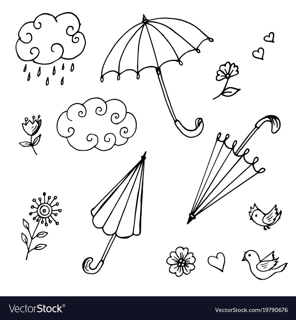 Doodles of umbrellas of clouds of flowers