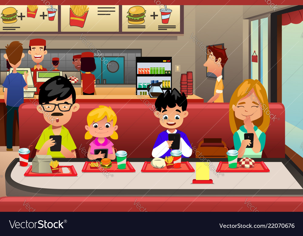 Family Eating Out In The Restaurant Royalty Free Vector-7266