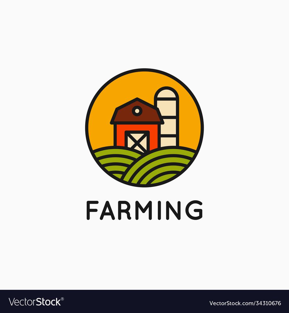 Farm linear logo on white banner background
