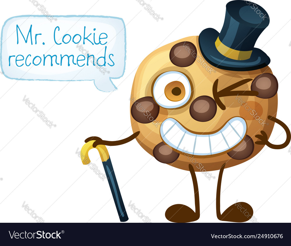 Funny smiling mr cookie character choc chip cookie