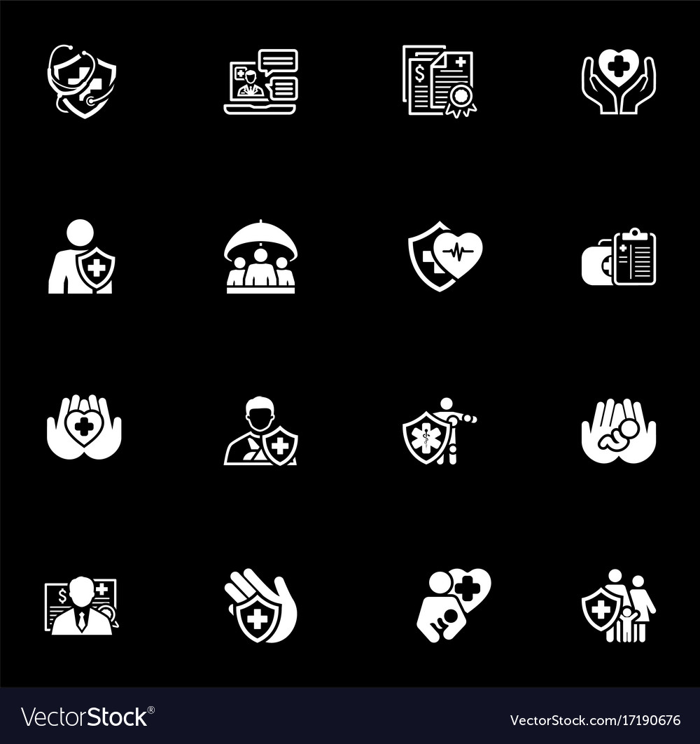 Insurance and medical services icons set