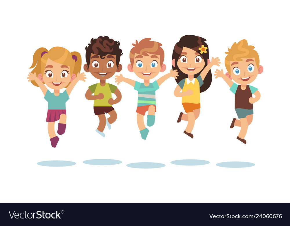 Jumping kids cartoon children playing and jump