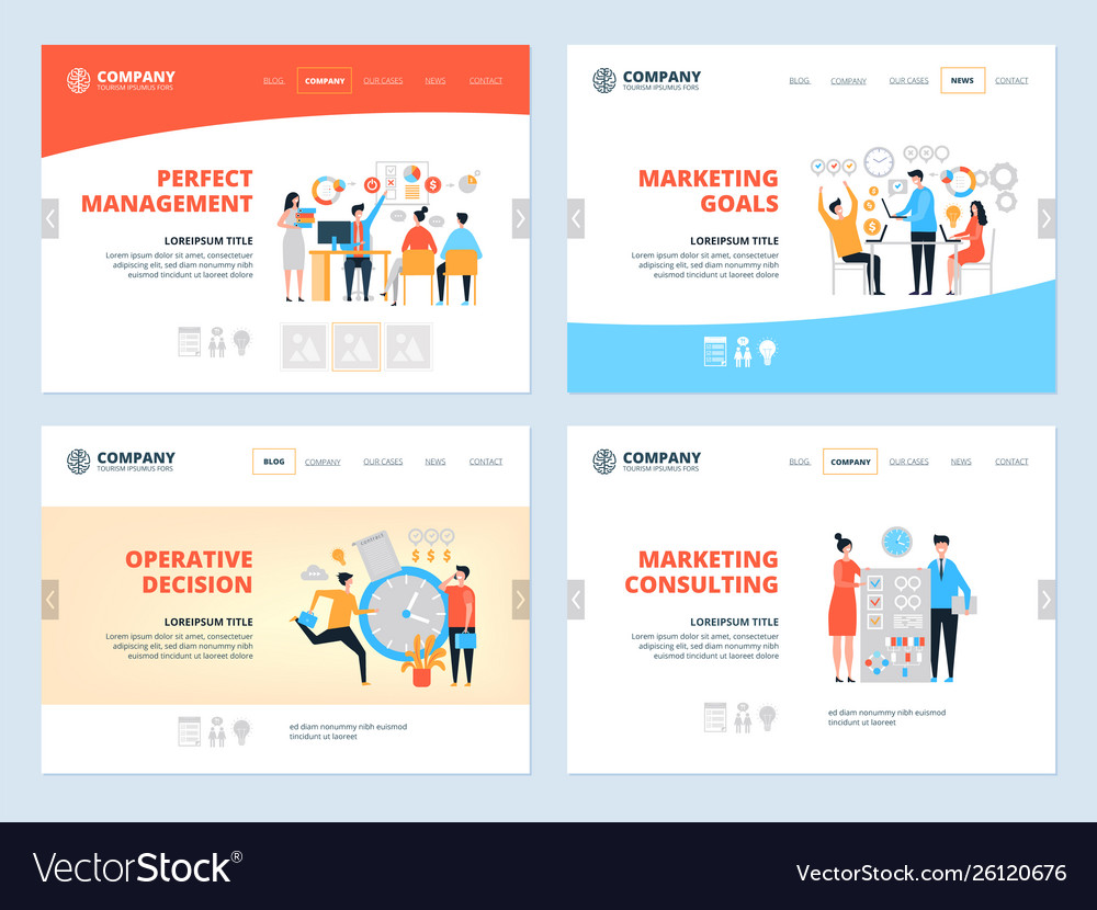 Management landing business website page layout