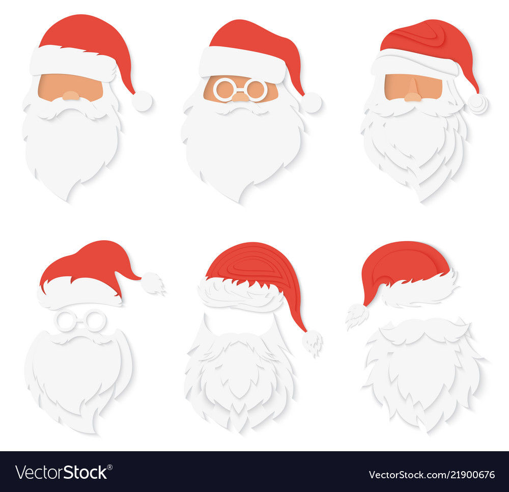 9d066d2dad90f8 Santa clause paper cuted style heads set santa Vector Image