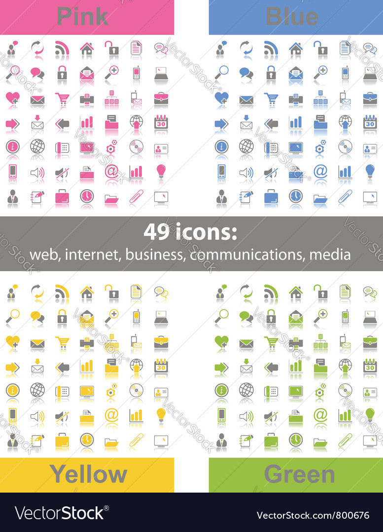 Set of 49 web icons vector image