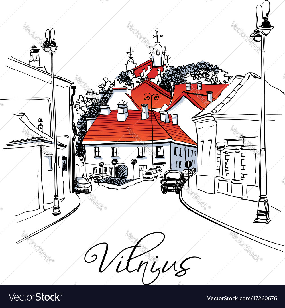 Typical street in old town of vilnius lithuania