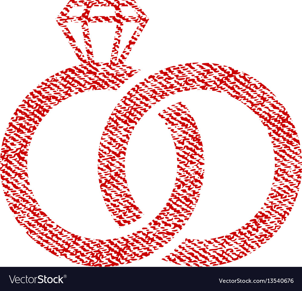 Wedding rings fabric textured icon Royalty Free Vector Image