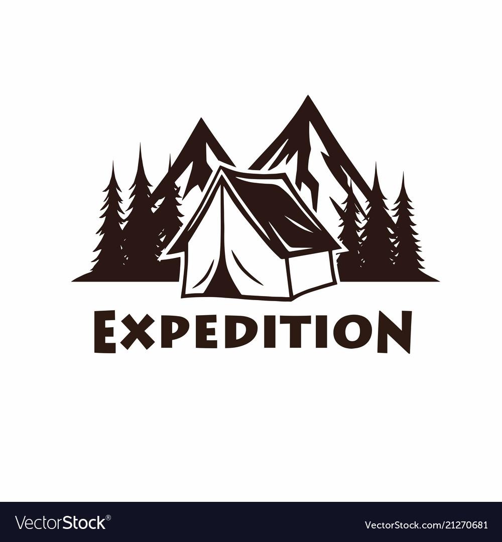 Camping campfire mountain vintage logo