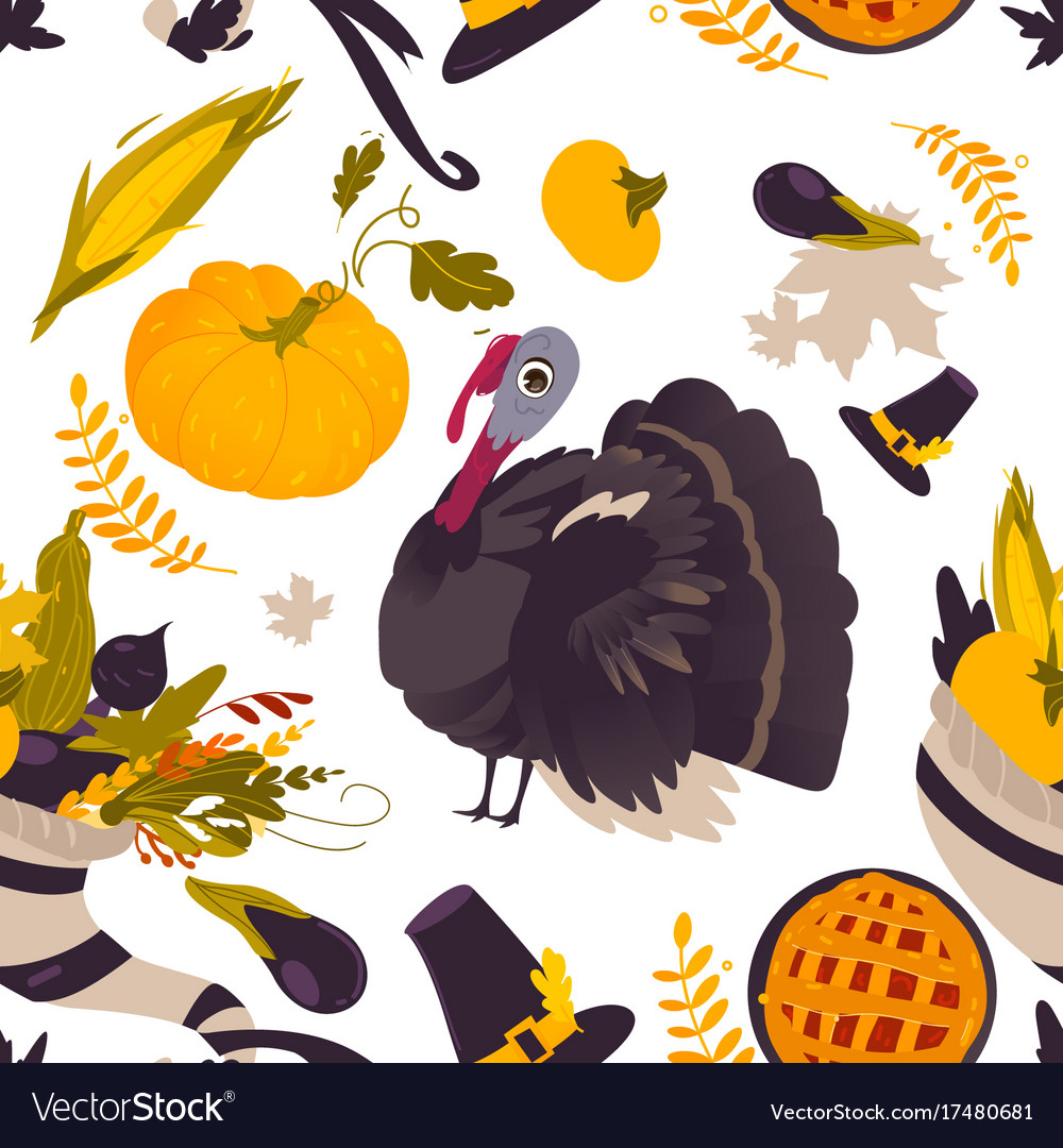 Colorful seamless pattern of thanksgiving symbols