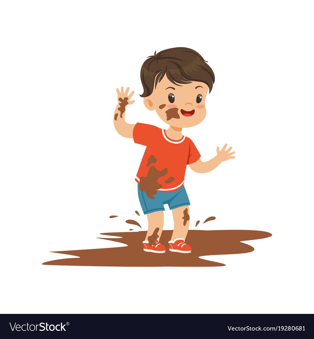 Dirt boy. Cute bully jumping in
