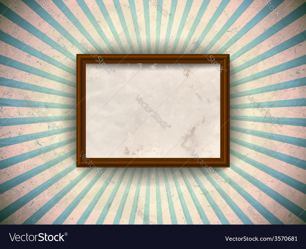 Frame on the grungy rays background